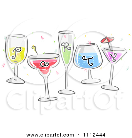 Clipart Party Text On Cocktails.