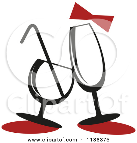 Clipart of a Cartoon Happy Champagne Cocktail.