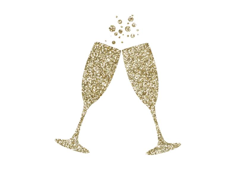 Gold Glitter Champagne Flutes Clipart.