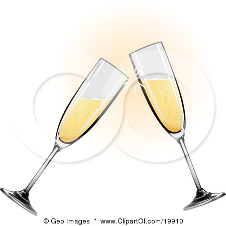 Clipart Illustration of Two Glass Champagne Glasses Toasting On by.