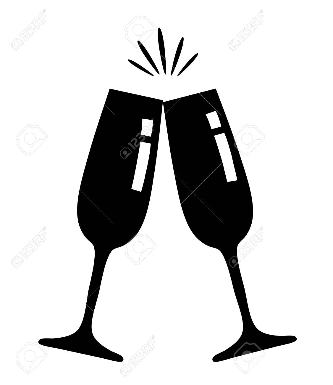 Vector illustration of champagne glasses icon black and white.