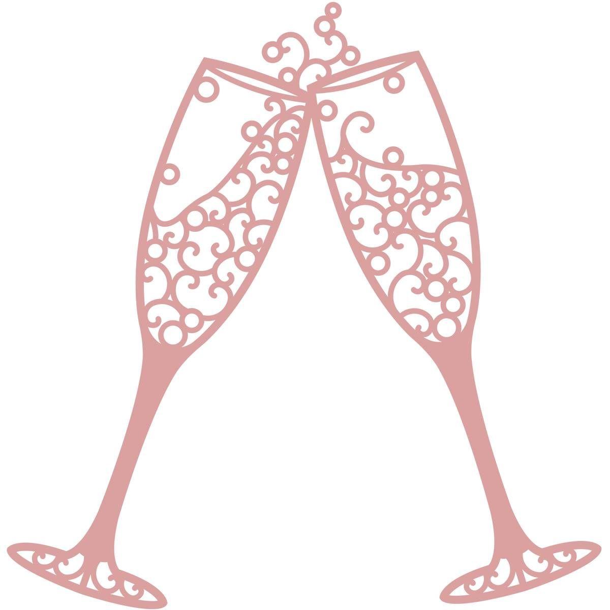 Intricut Champagne Glasses Die 11.1cm x 10.9cm.