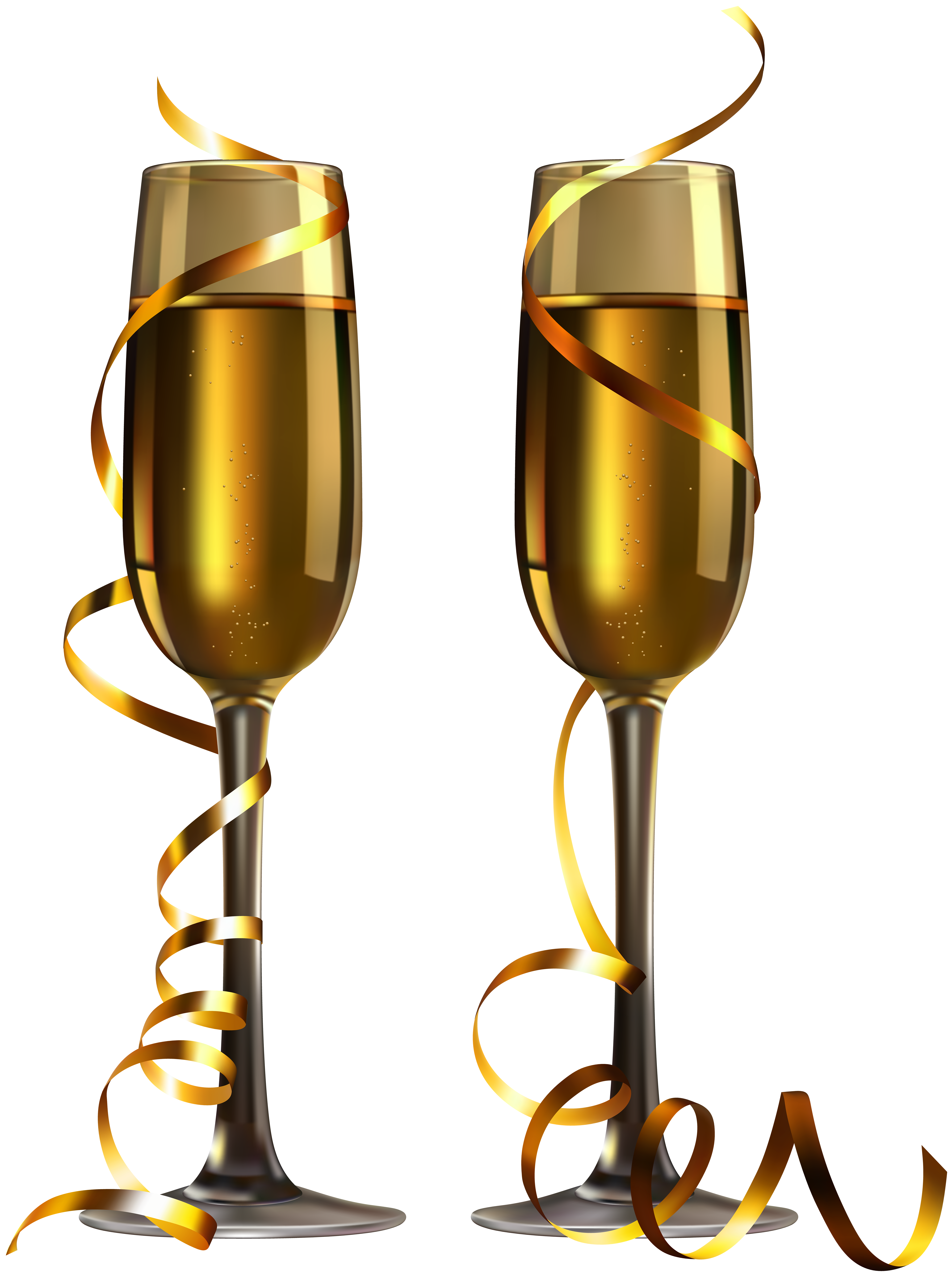 New Year Champagne Glasses PNG Image.
