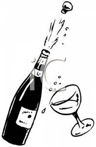 Champagne Black And White Clipart.