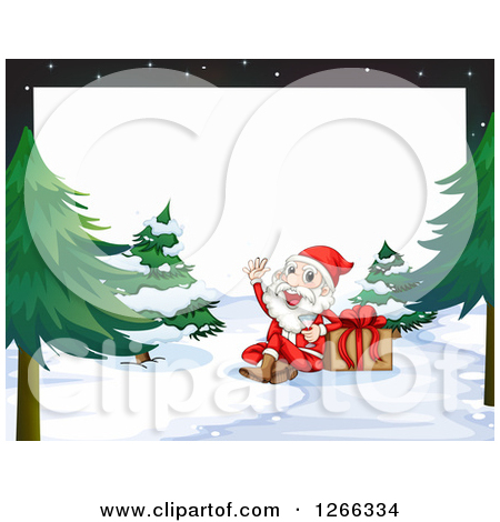 Clipart of a Border of Santa Drinking Champagne by a Gift in the.