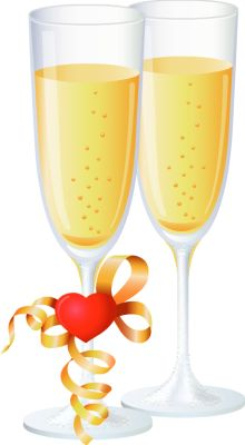 Two Glasses of Champagne for Love = Clip Art > Champagne.