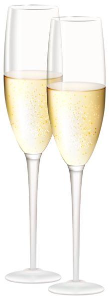 Champagne Glasses Transparent PNG Clip Art Image.