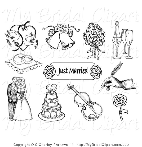 Clipart of a Black and White Set of Doves, Wedding Bells, a Bridal.