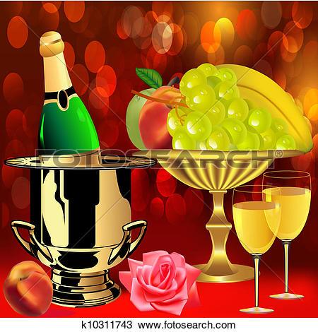 Clipart of bottle champagne fruit rose and goblets k10311743.