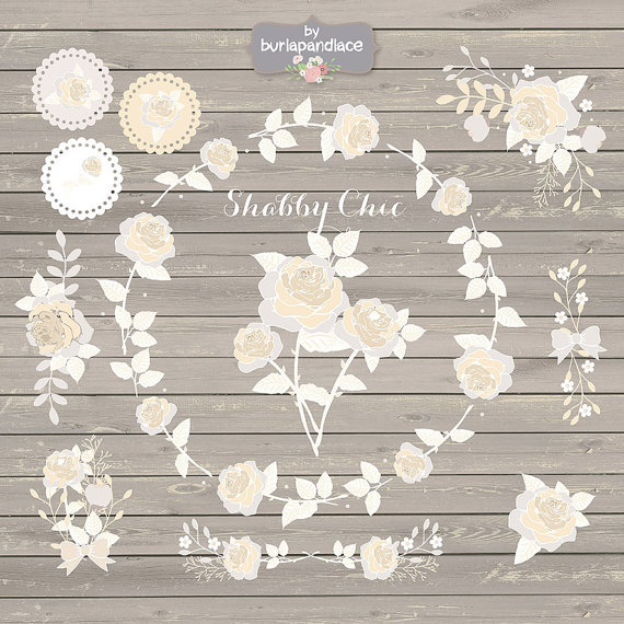 Shabby Chic Rose Champagne Clipart romantic by 1burlapandlace.