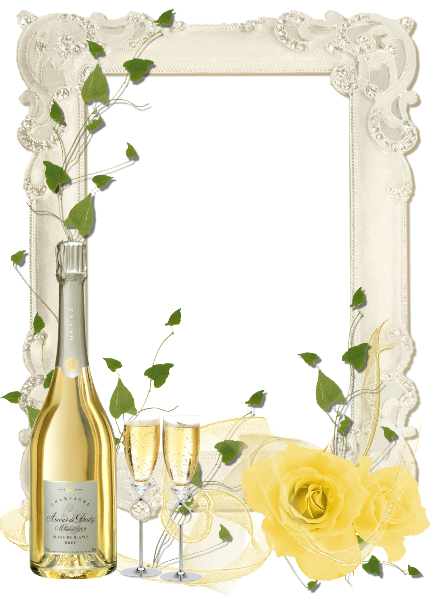Delicate Transparent PNG Frame with Yellow Roses and Champagne.
