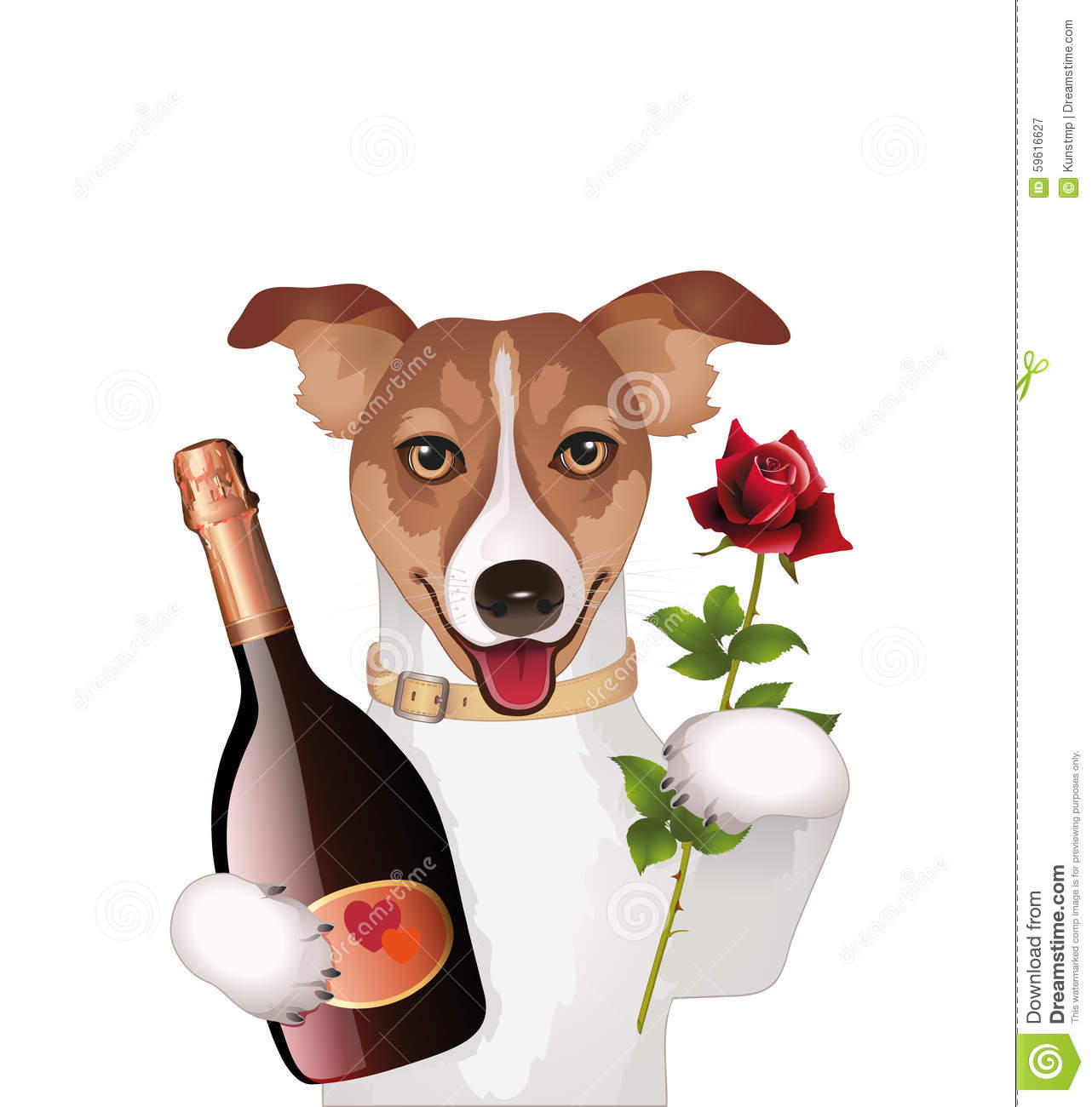 Dog With Champagne And Rose Stock Vector.