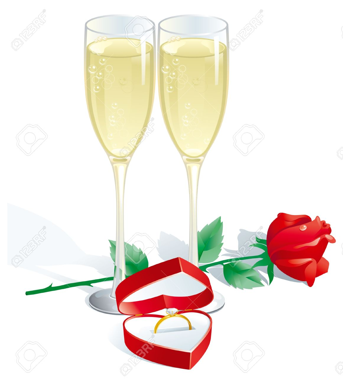Engagement Ring. Two Champagne Flutes, Red Rose And Engagement.
