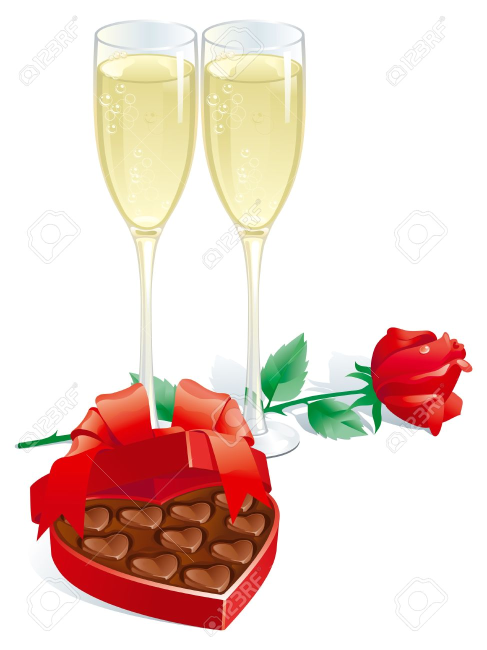 Valentines Gift Vector Of Two Champagne Flutes, Red Rose And.