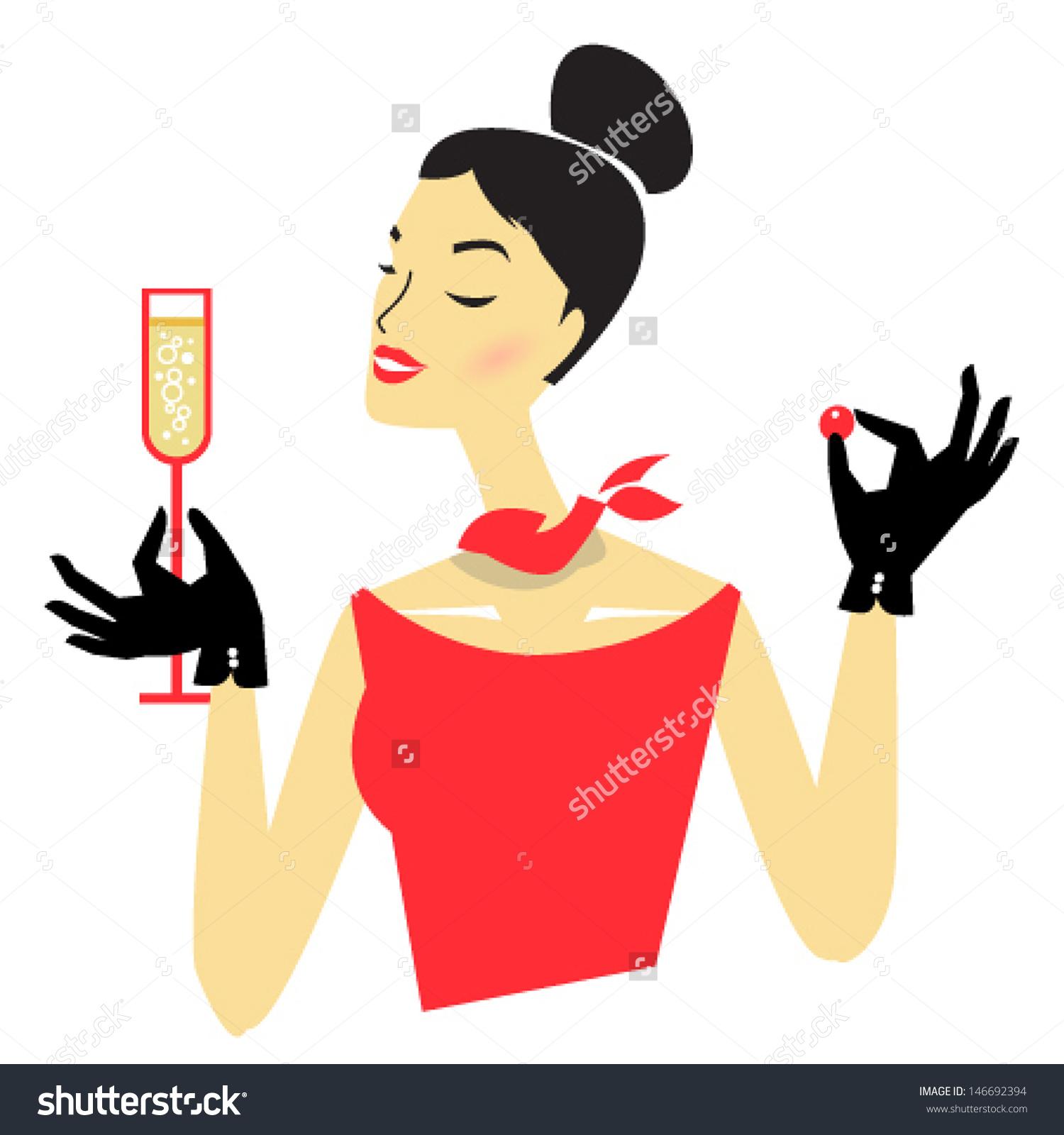 Stylish Retro Illustration Woman Red Tasting Stock Vector.