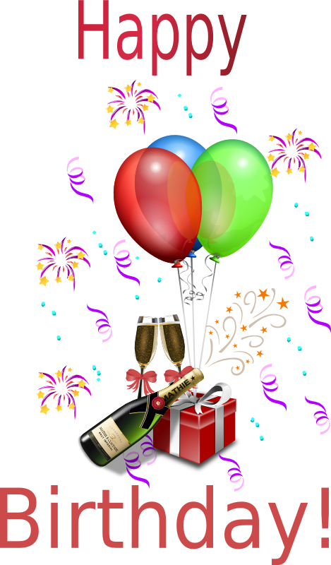 Birthday Wine Clipart.
