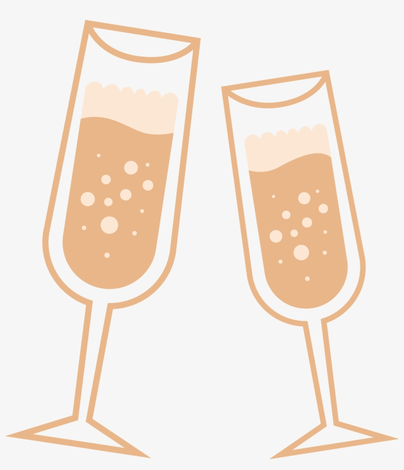 Vector Black And White Library Champagne Toast Clipart.