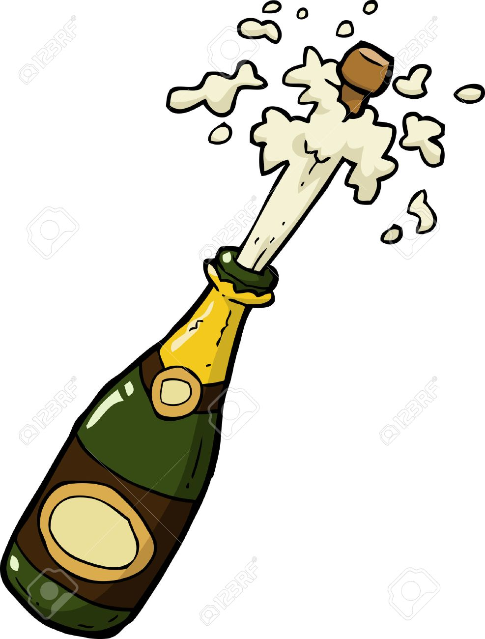 Cartoon doodle champagne bottle shot vector illustration.