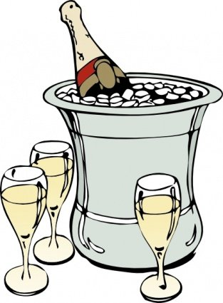 Kostenlose Clipart und Vektorgrafiken für Champagner auf Eis.