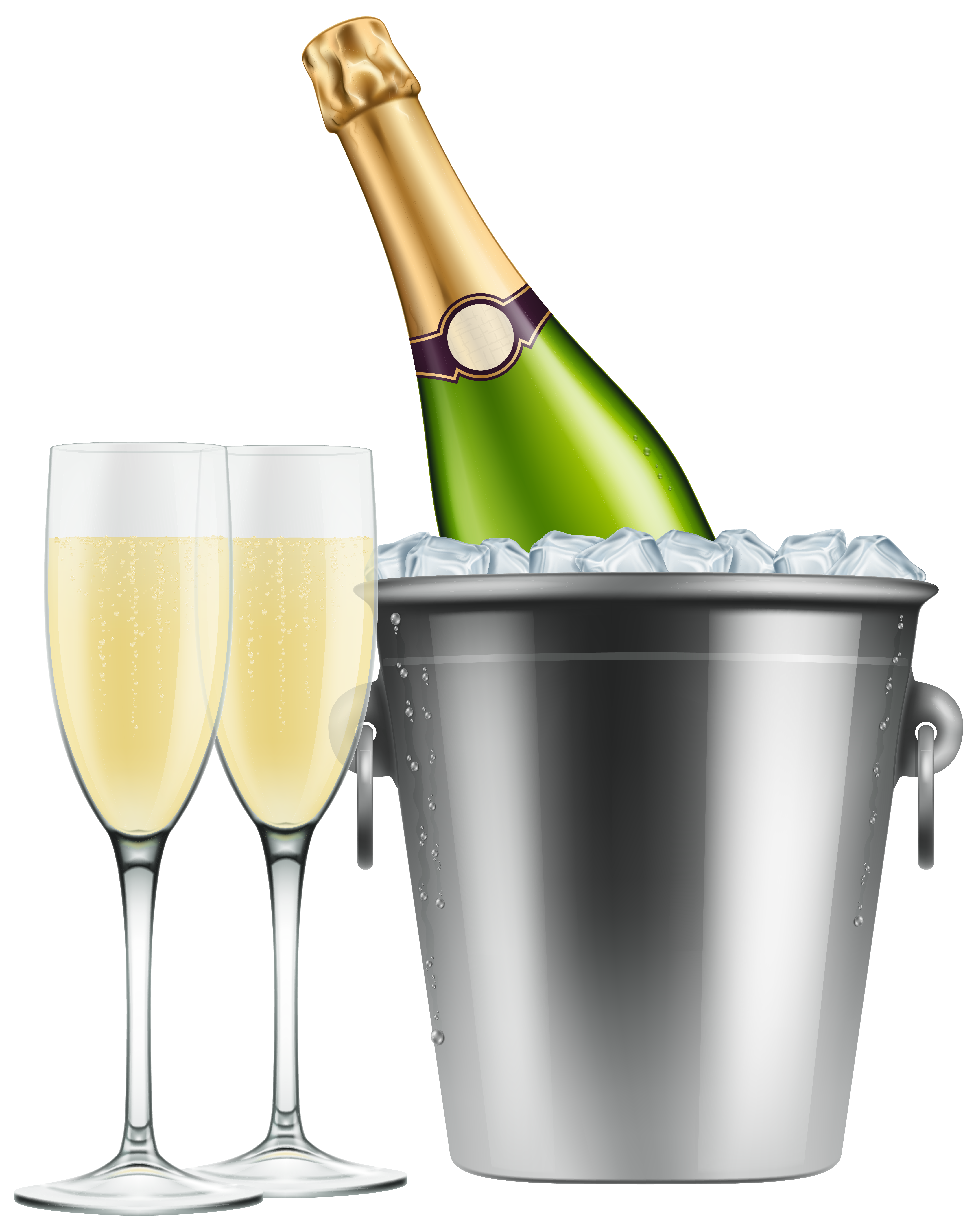 Champagne in Ice and Glasses PNG Clip Art Image.