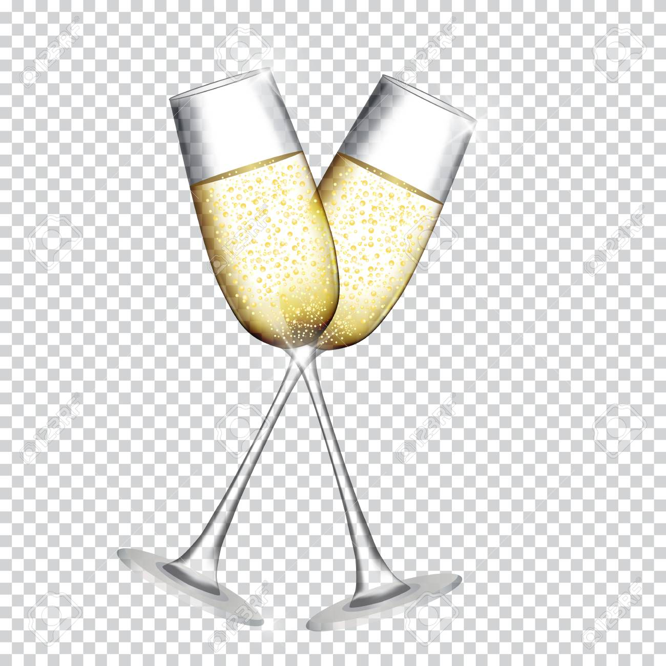 Two Glass of Champagne square patterned background. Vector Illustration.