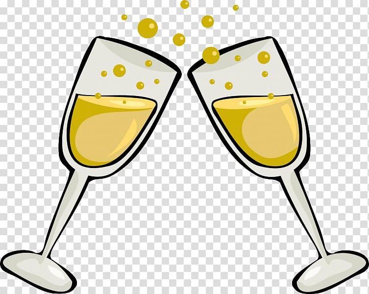 White wine Champagne Sparkling wine , glass transparent background.