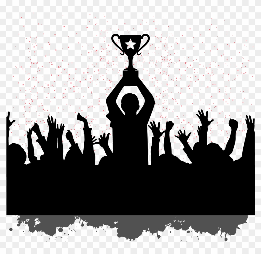 Building Motivation Champion People Celebrating Silhouettes.