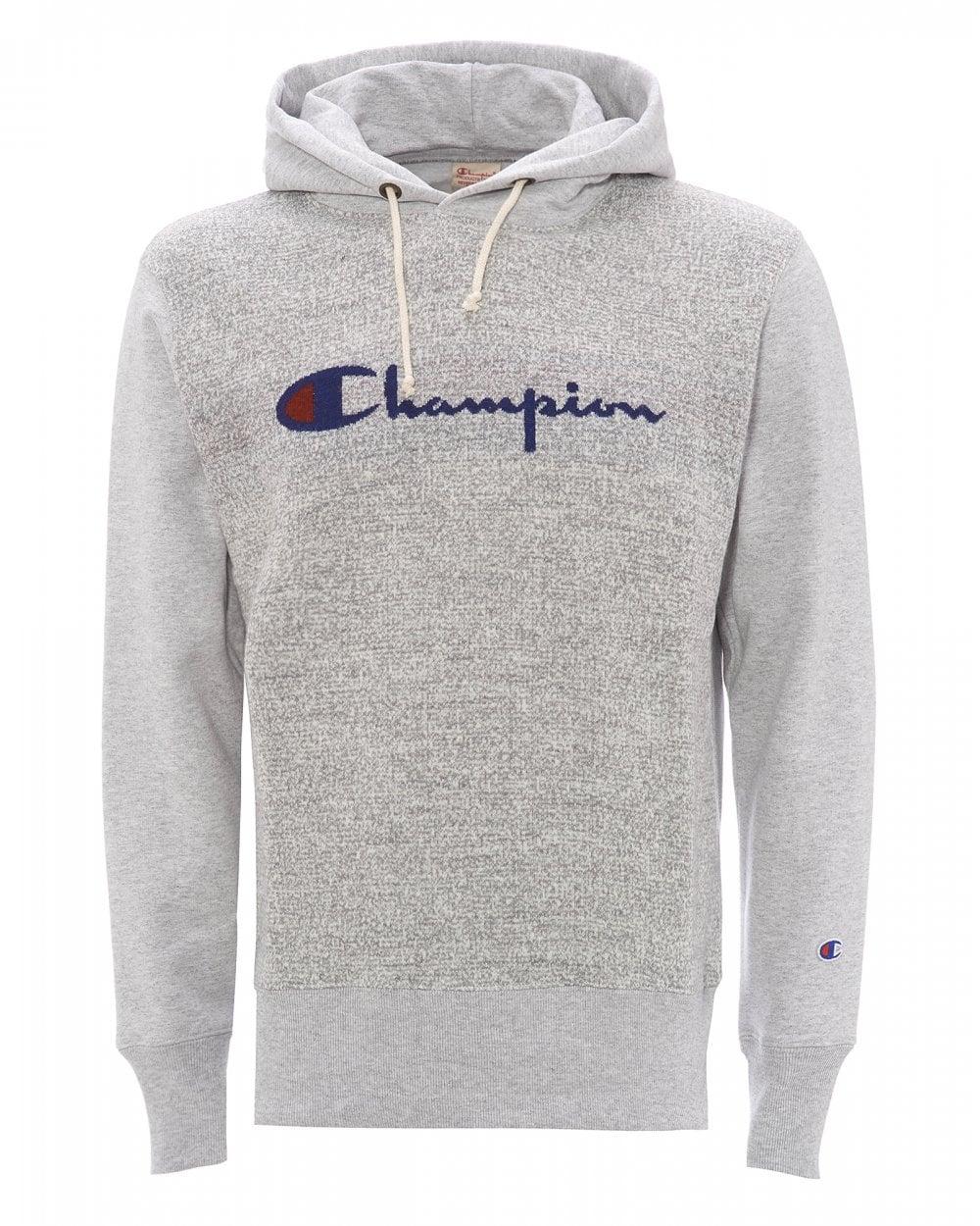 Mens Knit Front Logo Hoodie, Grey Sweatshirt.