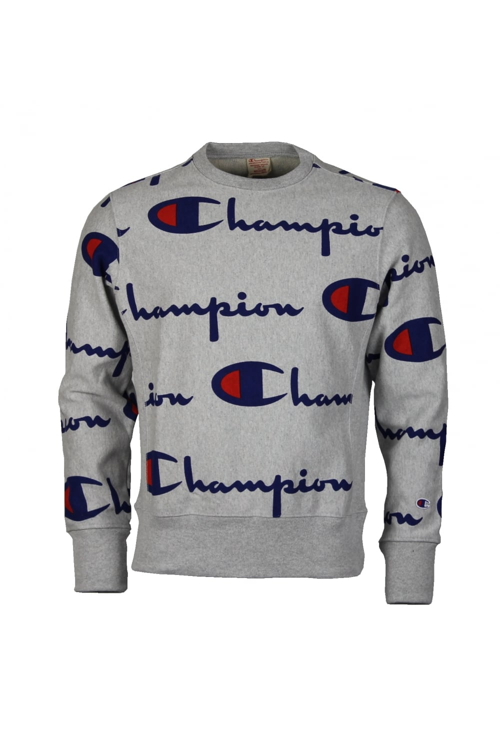 Champion Reverse Weave Repeat Logo Sweatshirt (Grey).