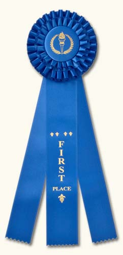 "Champion Rosette Award Ribbons: Premium 14"" Double Rosette Ribbons."