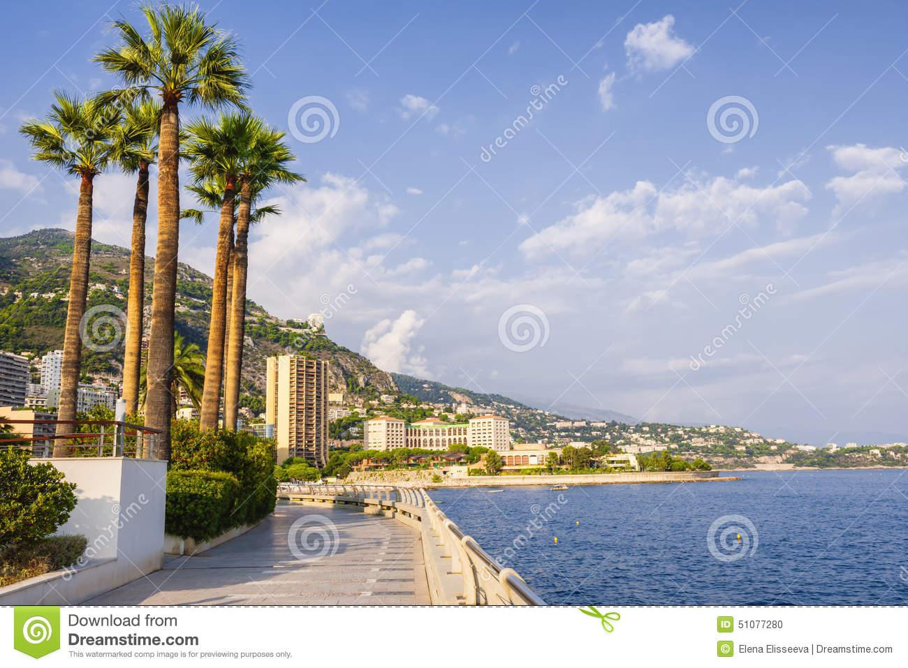 Champions Promenade In Monaco Stock Photo.