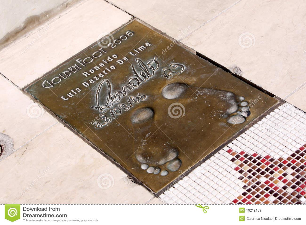 Ronaldo Luís Nazário De Lima 's Footprints Editorial Stock Image.