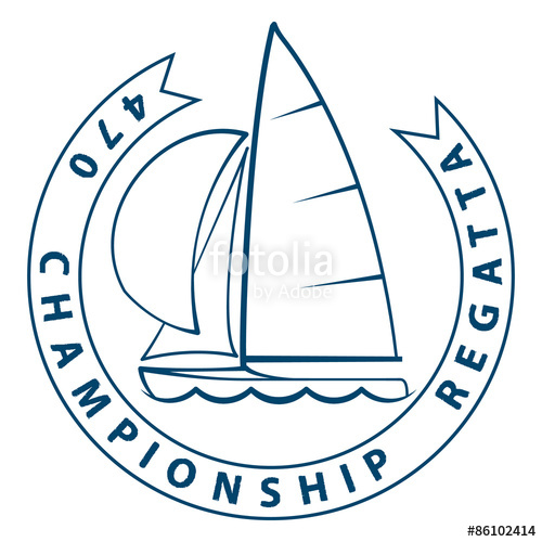 Sailing dinghy of 470 class racing yachts. Label for a.