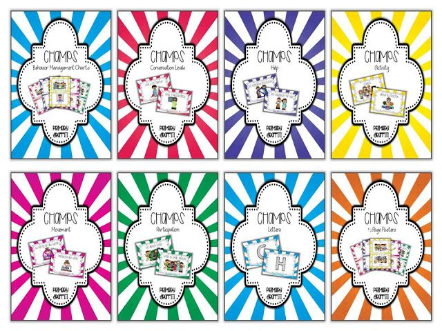 Colorful and Fun CHAMPs Charts for Behavior Management. Each card.