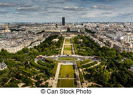 Stock Photos of Eiffel Tower and Champ de Mars in Paris, France.