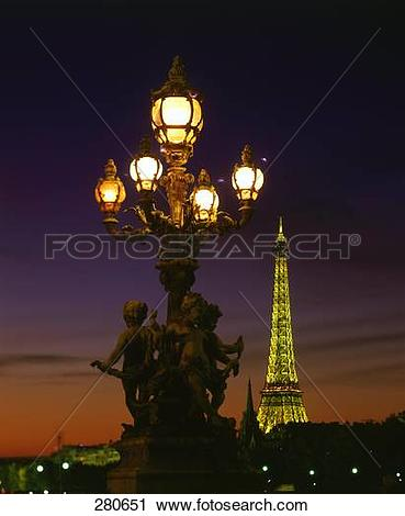 Stock Photography of Lamppost with tower in background, Pont.