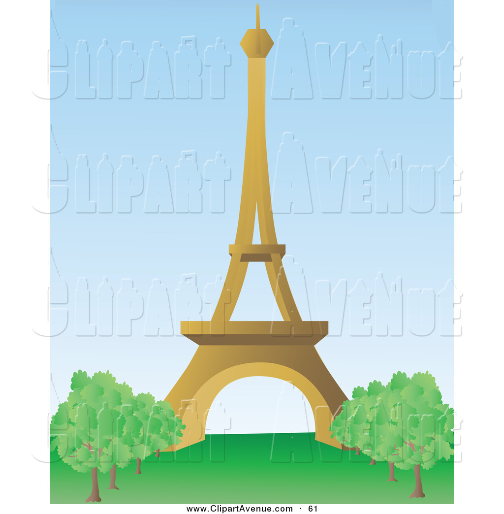 Avenue Clipart of a the Beautiful Brown Eiffel Tower on the Champ.