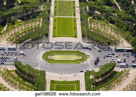 Stock Images of High angle view of a traffic circle, Champ De Mars.