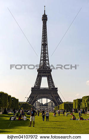 Stock Photo of Champ de Mars, Field of Mars and Tour Eiffel.