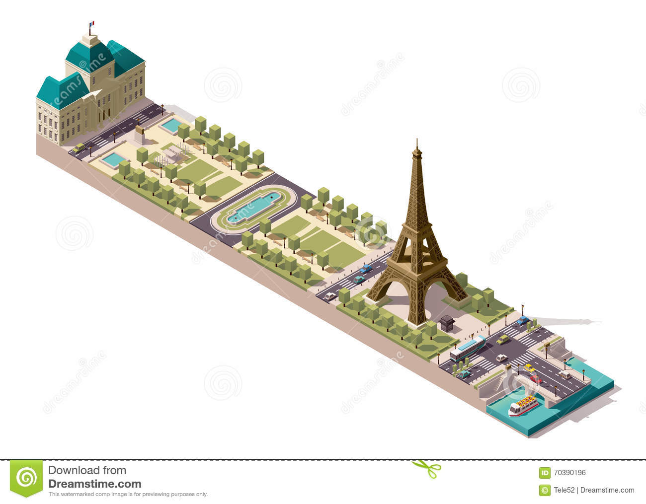 Isometric Eiffel Tower And Champ De Mars Royalty Free Stock Image.