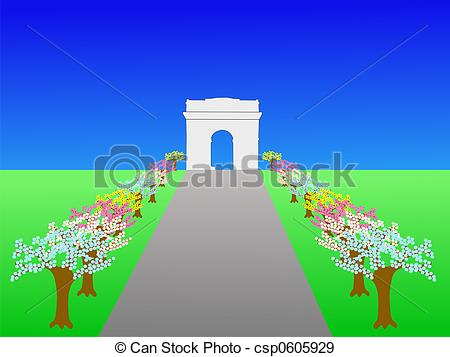 Stock Illustration of Arc de Triomphe and Champs Elysees Paris in.