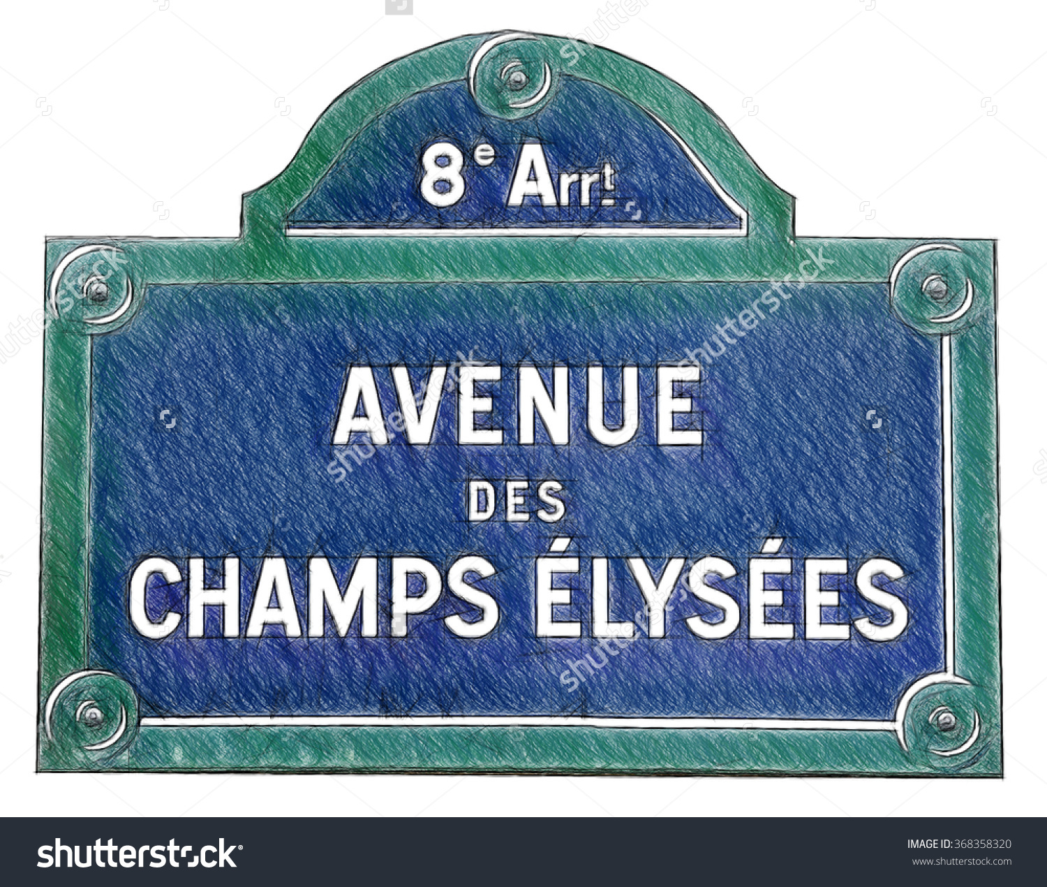 Street Sign Champs Elysees Paris France Stock Illustration.