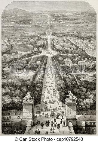 Drawing of Champs Elysees.