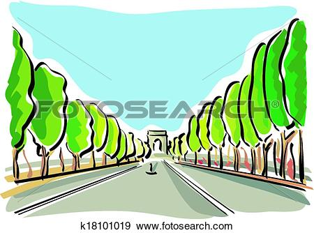Clip Art of Paris (Champs Elysees) k18101019.