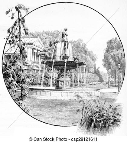 Clipart of Fountain champs Elysees, vintage engraving..