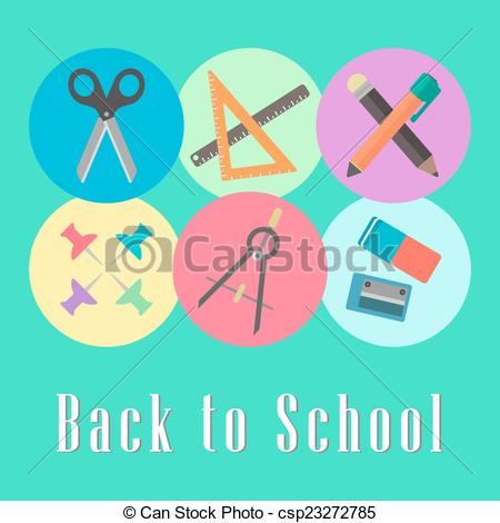 Vector of back to school conception, chancellery set.
