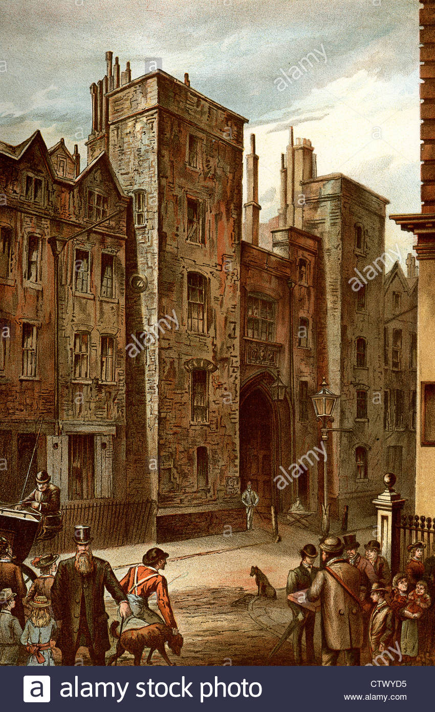 Vintage Picture Of Old London. Tudor Gateway, Lincoln's Inn.
