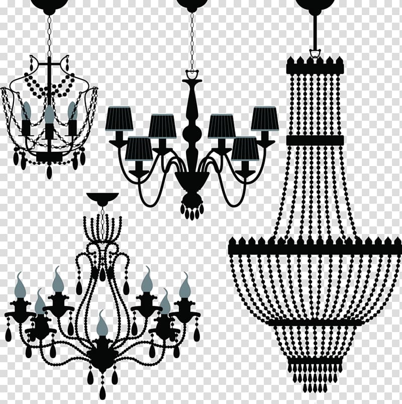 Black chandelier illustrations, Chandelier Lighting.