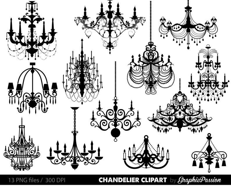 Chandelier Clip Art Scrapbooking Chandelier Clipart Printable Vintage  Chandelier Wedding Invitation INSTANT DOWNLOAD.