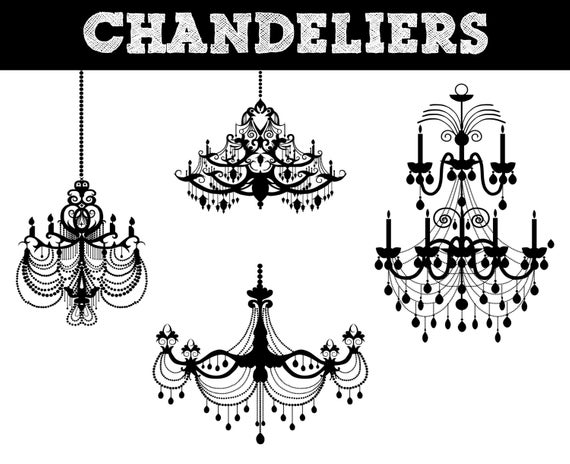 Chandelier Silhouettes // Lighting Silhouette // Commerical Use Clipart //  Lights Silhouettes.